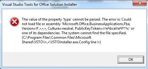 خطای نصب افزونه آفیس Visualstudio
